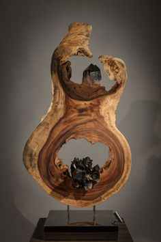 Calling the Universe - Organic, Acacia Wood, Smokey Quartz Crystal Sculpture with Stainless Steel Base and Lights by Fine Artist Dorit Schwartz - Las Vegas