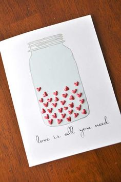 Homemade / Handmade Cards DIY: Could read 'filled with love for you valentine'. Homemade Valentine Cards, Valentine Day Cards, Valentines Diy, Homemade Cards, Homemade Wedding Cards, Husband Valentine, Printable Valentine, Valentine Wreath, Love Cards