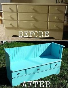 How to make a beautiful vintage bench from an ugly old dresser! <3 DIY dresser bench! by chandra