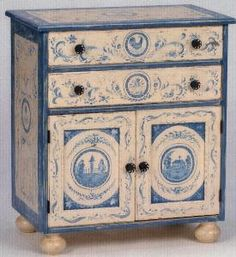 Hand Painted Farm Toile Two Door Nightstand