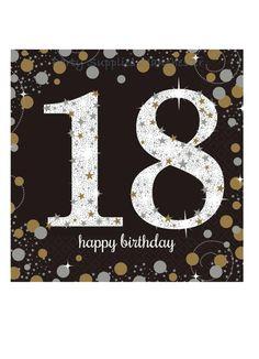 Party Supplies 16 X Black Age 18 Napkins Black Gold Silver Birthday Tableware Napkins & Garden Happy Birthday Writing, Happy Birthday 18th, Birthday Lunch, 18th Birthday Party, Art Birthday, Special Birthday, Birthday Wishes, Promo Amazon, Party Napkins