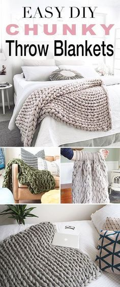 Easy DIY Chunky Throw Blankets! • See how affordable and easy these are to make yourself with these great tutorials and DIY projects from talented bloggers!