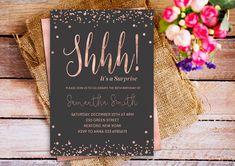 Shhh es una invitación de cumpleaños partido sorpresa color
