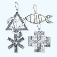 @WorldCrafts {Chrismon Set #2 ~ Thai Country Trim ~ Thailand} Set of four Christian symbol ornaments (cross and the Chi, Jerusalem cross, triangle and the trefoil, and the ichthus). Handmade by battered women who are receiving emotional and financial support. #fairtrade #set1free