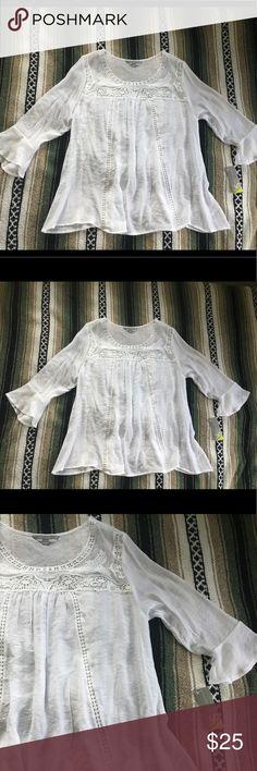 Valerie Stevens bohemian top NWT. Valerie Stevens bohemian top. Size: XL. Color: white wash. 65% polyester, 35% Rayon. Combo: 100% polyester. Measurements pictured. Valerie Stevens Tops Blouses