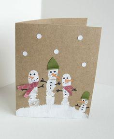 kindern weihnachtskarten basteln fingerabdruck schneemänner kleinkinder