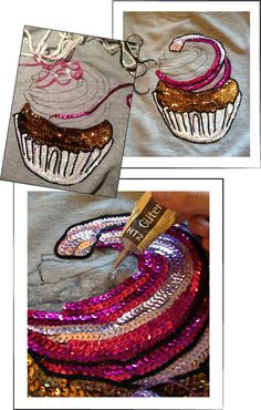 Dare to DIY in English: DIY Tutorial: Cupcake jumper with sequins Atrévete a hacer bricolaje en inglés: Tutorial de bricolaje: Beaded Embroidery, Hand Embroidery, Embroidery Designs, Sewing Crafts, Sewing Projects, Painted Clothes, Creation Couture, Diy Arts And Crafts, T Shirt Diy