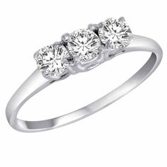 DivaDiamonds Sterling Silver 3 Three Stone Round Brilliant Diamond Ring (1/2 cttw) DivaDiamonds. $500.00