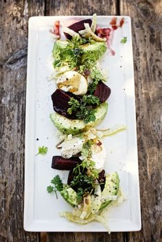 Beet & Avocado Salad with Fresh Mozzarella and Fennel / photo by Jody Horton