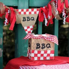 Discover how easy it is to make adorable decorations for your next barbeque using burlap and fabric paint.