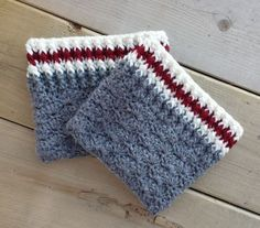 I was finishing up a project one day that used these yarns, and didn't really have enough left to make anything big. Then I went on to make some boot cuffs using a different color and pattern for a f