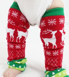 Christmas Baby Leg Warmers Tacky, Ugly Christmas Sweater with Reindeer, Snowflakes and Hearts. , via Etsy.