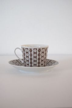 Items similar to Vintage Porsgrund demitasse cup and saucer on Etsy Teapots, Afternoon Tea, Tea Set, Cup And Saucer, Kettle, Danish, Porcelain, China, Retro