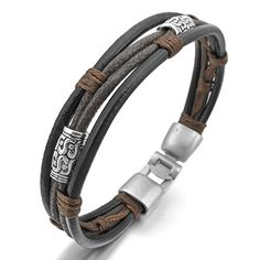 MunkiMix Legierung Echtes Leder Armband Armreif Seil Schwarz Silber Braun Geflochten Herren,Damen