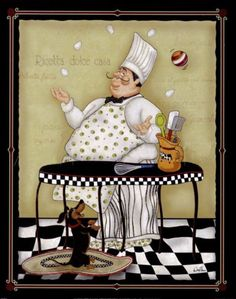 French, Chef, Juggling Eggs, with Happy Dachshund, Refrigerator  Magnet,......   NEW LARGER SIZE !!!