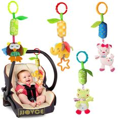 Parabebe Baby Stroller Accessories Rattles Mobiles Trolley Educational Toys For Kids Plush Cars Hanging Bed Bells Carriage Dolls Strollers Accessories