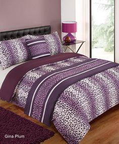 Designed by DEBORAH WILLMINGTON DESIGNS - Gina Leopard Plum Double Duvet Quilt Set Bed in a Bag Cushion Cover Runner: Amazon.co.uk: Kitchen & Home