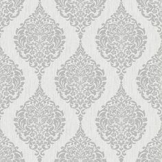 "Luna 33' x 20"" Damask 3D Embossed Wallpaper Roll"