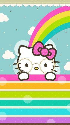 Four eyed Kitty Hello Kitty Backgrounds, Hello Kitty Wallpaper, Kawaii Chibi, Kawaii Cute, Cellphone Wallpaper, Iphone Wallpaper, Planners, Hello Kitty Images, Hello Kitty Birthday