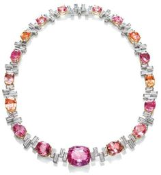 Sunset by Harry Winston, Padparadscha and Diamond Necklace.           17 oval and cushion-cut padparadscha sapphires. 92.96 total carats; 71 baguette diamonds, 20.54 total carats; 18k yellow gold and platinum setting.