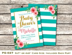 Printable Floral Baby Shower Invitation, Custom Boho Baby Shower Invite, Pink and Green Baby Shower Invite, Includes Back Design, PS-027.