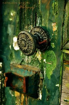 Door Knobs and Knockers Door Knobs And Knockers, Knobs And Handles, Door Handles, Old Doors, Windows And Doors, Slytherin Aesthetic, Peeling Paint, Shades Of Green, Unique Vintage