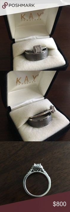 READ DETAILS! Diamond engagement ring &men's band Wedding Ring Set 14k size 7.50 and gray tungsten size 10.  BRAND NEW NEVER WORN Men's gray tungsten carbide ring, 8mm, size 10. Lightly worn white gold women's engagement ring 1 carat tw, 14 carat white gold, size 7.50. Retail for both is $1,800. Asking $800 for both. Lifetime warranties for both included and transferable! Jeweler also states men's ring can be exchanged for correct size if needed! Reasonable offers accepted! Or if you would…
