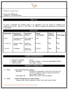 My First Resume  Sample Template of an Excellent B Tech CSE Resume Template for Freshers with Free Dowload in Word doc, job profile and Career Objective. (3 Page Resume) (Click Read More for Viewing and Downloading the Sample)  ~~~~ Download as many CV's for MBA, CA, CS, Engineer, Fresher, Experienced etc / Do Like us on Facebook for all Future Updates ~~~~