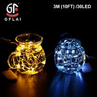 LED String Lights Copper Wire 3M 7FT 30 White Lights Battery Powered Wedding Table Party Decoration 10 Pcs/Lot Free Shipping Now
