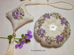 Lavender and lilac: Set of sewing: pincushion, Find Scissors, Needle Holder