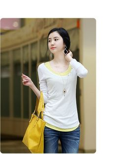 2014 Hot cheap free shipping new women's spring fashion casual Korean version of the simple long-sleeved T-shirt Slim $11.99