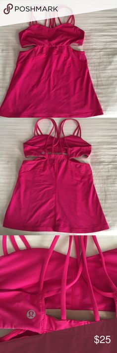 Raspberry pink Lululemon bra top size 6 I cannot remember what the style name for this top is.  Cut outs and a mesh panel on both sides.  Cris-cross straps with bra inserts.  Pretty color and a style that is great for warmer weather.  I am just too busty and this needs to go. lululemon athletica Tops Tank Tops