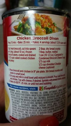 Chicken Broccoli Divan, Campbell's recipe. Use cooked frozen chicken for quicker prep.