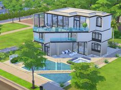 Stylish modern house for a small family featuring two bedrooms, two bathrooms, large living room and playroom for the kids. Found in TSR Category 'Sims 4 Residential Lots'