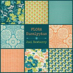 Joel Dewberry Fabric - 8 Fat Quarter Bundle FLORA in Eucalyptus | ships from Australia by FreshFabricsAust on Etsy https://www.etsy.com/listing/235762023/joel-dewberry-fabric-8-fat-quarter