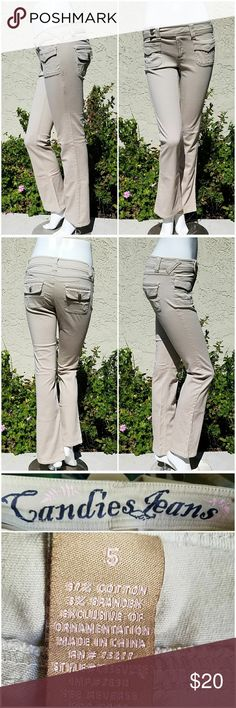 """Candies Khaki Bootcut Jeans MEASUREMENTS: 🌺 Waist 30"""" 🌺 Hips 34"""" 🌺 Rise 8"""" 🌺 Inseam 31"""" 🌺 Ankle 9""""  CONDITION: Excellent. No holes or stains SIZE 5 97% Cotton, 3% Elastane  Taupe bootcut jeans with patch pockets on the front Button flap pocket on the hip Zipper with tab and button closure Inscribed buttons with faux crystals Pleated detailing on front pockets Candie's Jeans Boot Cut"""