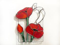 Suncatcher Stained Glass coquelicots panneau par FleetingStillness