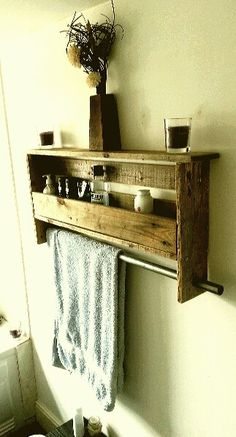 Rustic look Pallet shelf with towel rail