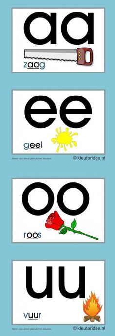 Letterkaarten voor kleuters tweeklanken 1,  kleuteridee.nl , abc cards for preschool , free printable Pre Writing, Kids Writing, Teaching First Grade, Teaching Reading, Learning Letters, Kids Learning, Letter School, Learn Dutch, Dutch Language