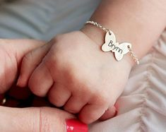 Check out our baby bracelets selection for the very best in unique or custom, handmade pieces from our shops. Custom Baby Gifts, Unique Baby Gifts, Personalized Baby Gifts, Baby Jewelry, Kids Jewelry, Baby Bracelet, Butterfly Bracelet, Baby Furniture Sets, Mother Daughter Bracelets