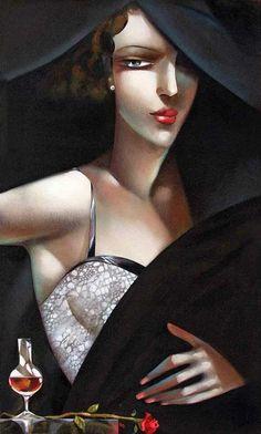 Tamara de Lempicka - Tamara Łempicka (Polish, 1898-1980) [portrait of blue-eyed brunette]. Oil on canvas. Art-Deco style.