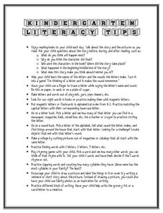 Kindergarten Literacy Tips for Parent-Teacher Conferences