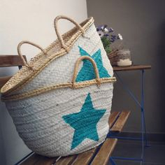 Beach baskets painted with Chalkpaint