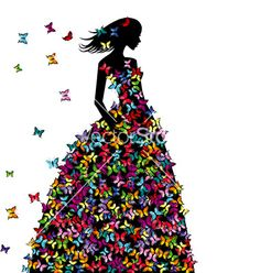 Silhouette of woman in a butterflies dress vector image on VectorStock Flower Silhouette, Fashion Silhouette, Woman Silhouette, Silhouette Art, Butterfly Wall Art, Butterfly Dress, Cake Design Inspiration, Quilling Craft, Free Art Prints