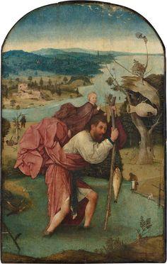 Saint Christopher. circa 1496-1505. oil on panel. 113 × 71.5 cm (44.5 × 28.1 in). Rotterdam, Museum Boijmans Van Beuningen.