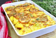 Przepis na prostą zapiekankę z ziemniaków. Nie wymaga dużych umiejętności kulinarnych, a zasmakuje nawet wybrednym podniebieniom :) Składniki: ok 8 średnich ziemniaków 2 pomidory 200 g kiełbasy lub szynki 2 cebule papryka czerwona 2 jajka 200 ml śmietany 18% pół małej czerwonejpapryki 150 g sera żółtego sól, pieprz, papryka ostra Przygotowanie Ziemniaki gotujemy w mundurkach,...