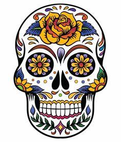 teschi messicani tattoo, un disegno di ampie dimensioni con una grande rosa gialla sulla fronte