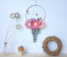 Nursery dreamcatcher, felt flower dreamcatcher, boho dreamcatcher, hoop wall art, tribal nursery, pink dreamcatcher, felt baby mobile