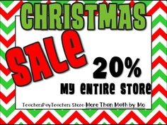 TpT store-More Than Math by Mo: Christmas Sale-20% off
