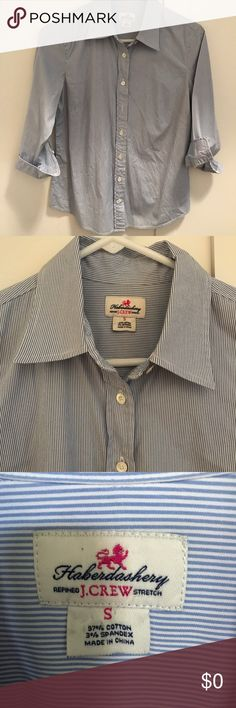 J.Crew Light Blue White Striped Haberdashery Shirt J. Crew button down hashberdashy --Size Small  Refined stretch women's button down long sleeve shirt. A professional, versatile top. 97% cotton, 3% Lycra. Made in Thailand. Worn maybe twice. Smoke free home! J. Crew Tops Button Down Shirts
